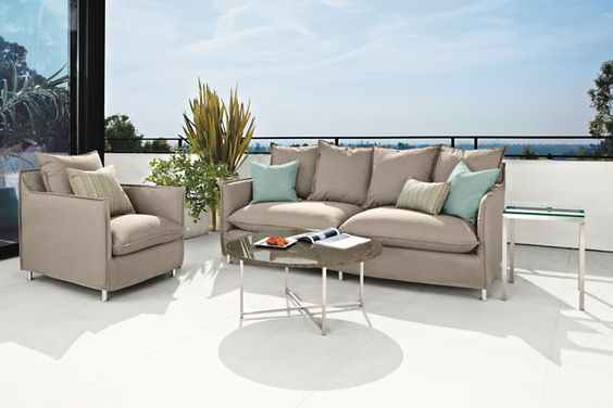The Brisbane outdoor chair combines indoor comfort with outdoor performance.  Plush cushions and an extra deep seat offer sink-in comfort, while narrow arms maximize seating space.
