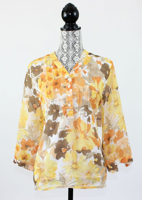 Coldwater Creek Womens Blouse Size XL 16 Sunsplashed Yellow Floral 3/4 Sleeves #ColdwaterCreek #Blouse #Casual