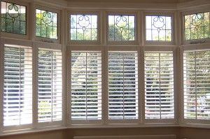 "baywindow blinds. Could make fake ""cut glass"" above."
