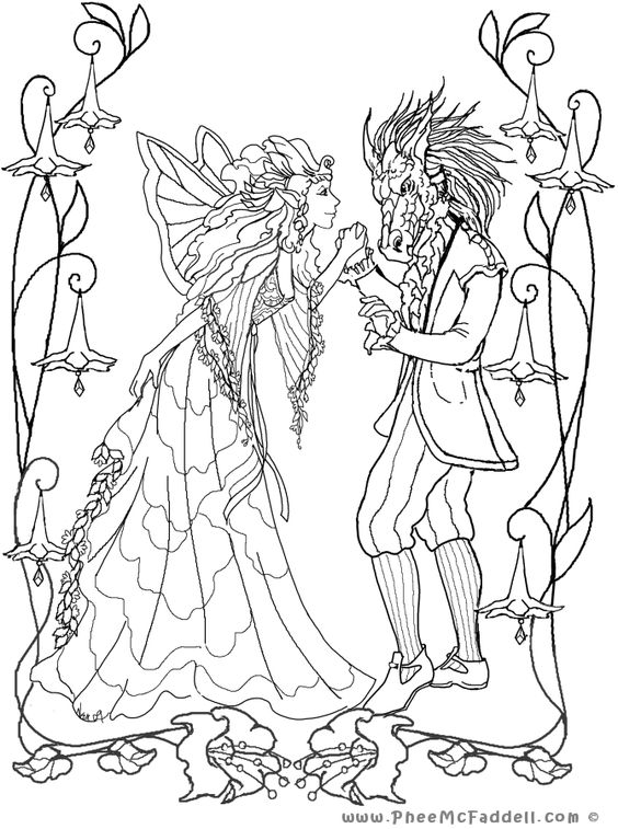Midsummer Nights Dream Puck And A Fairy Sketch Coloring Page