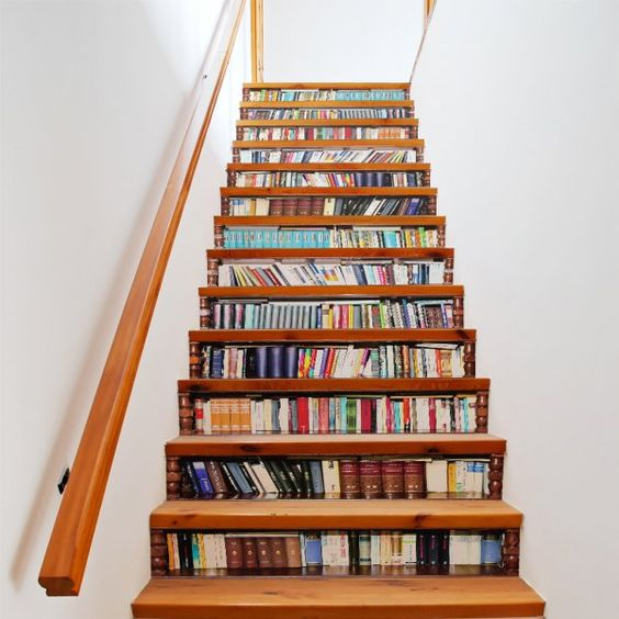 Bookcase Style 13 Pieces Stair Sticker Wall Decor - Mixed Color 18 X 100cm X 13 Pieces Mobile