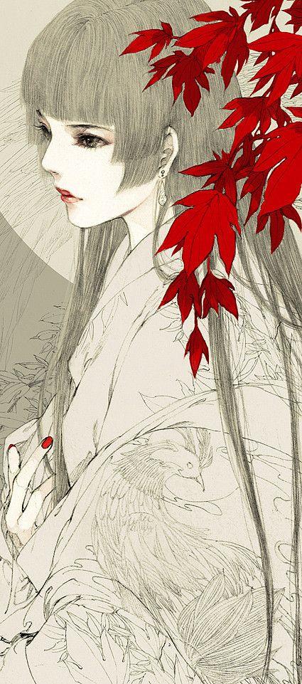 绘画 古装 插画手绘 壁纸 梦非梦,情非情,花里雾里梦千绪,花开花…