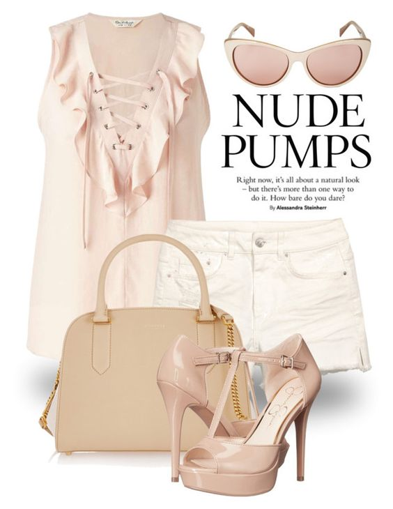 """Nude 1869"" by boxthoughts ❤ liked on Polyvore featuring Miss Selfridge, Nina Ricci, Jessica Simpson and BCBGMAXAZRIA"