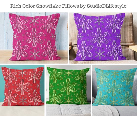 Rich Color Snowflake Pillows by StudioDLifestyle