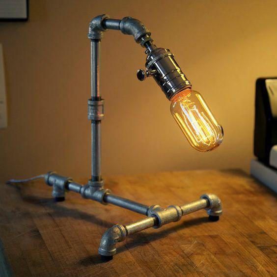 Medium Galvanized Steel Pipe Steampunk Desk Lamp By Loglow