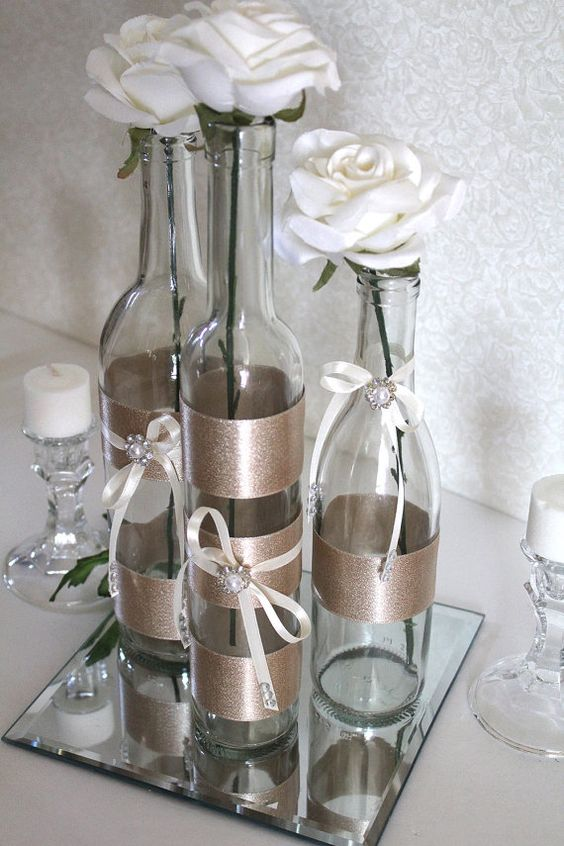Decorated wine bottle centerpiece champagne by