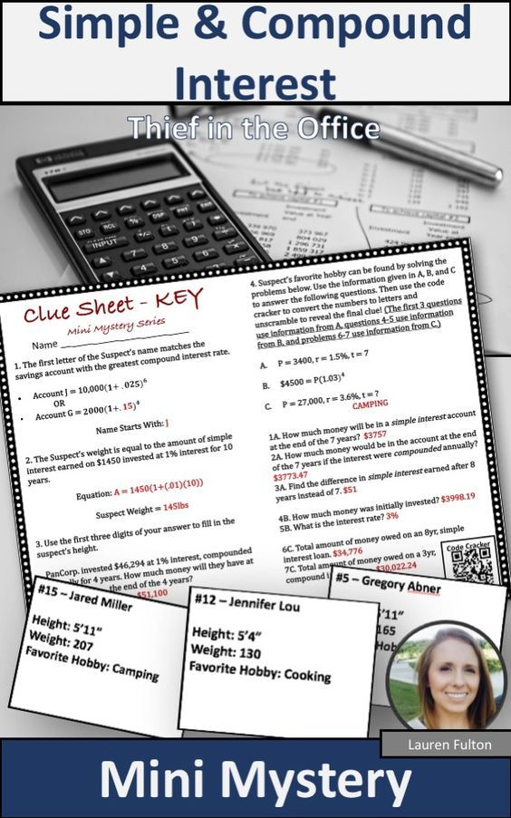 Simple And Compound Interest Activity Digital Version Included Compound Interest Activity Simple Interest Math Financial Literacy Activities