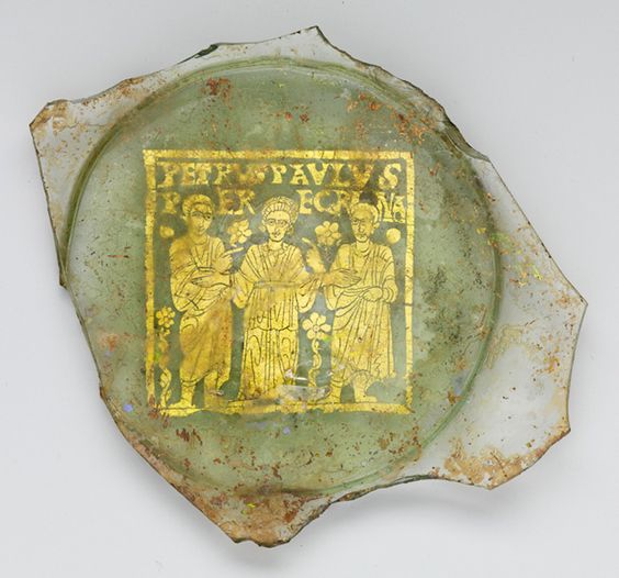 Gold Glass with Sts. Peter and Paul and Peregrina / Roman mid-4th century / Metropolitan Museum of Art