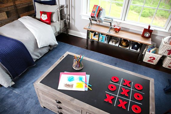 Love this game table with chalkboard top - so perfect for a #kidsroom!