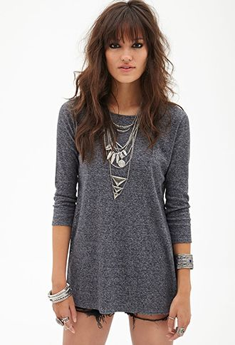 Marled Knit Slit Top | FOREVER 21 - 2055879652