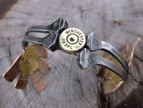 cuff bracelet made with horseshoe nails by