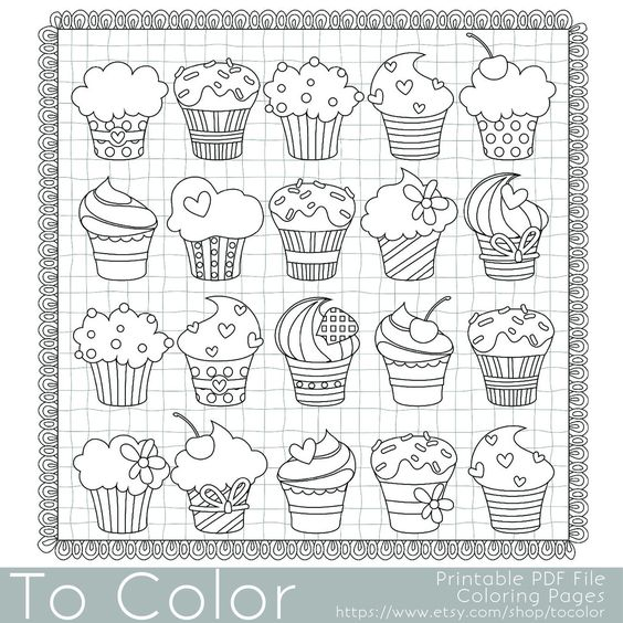 Cupcake Coloring Page For Grown Ups