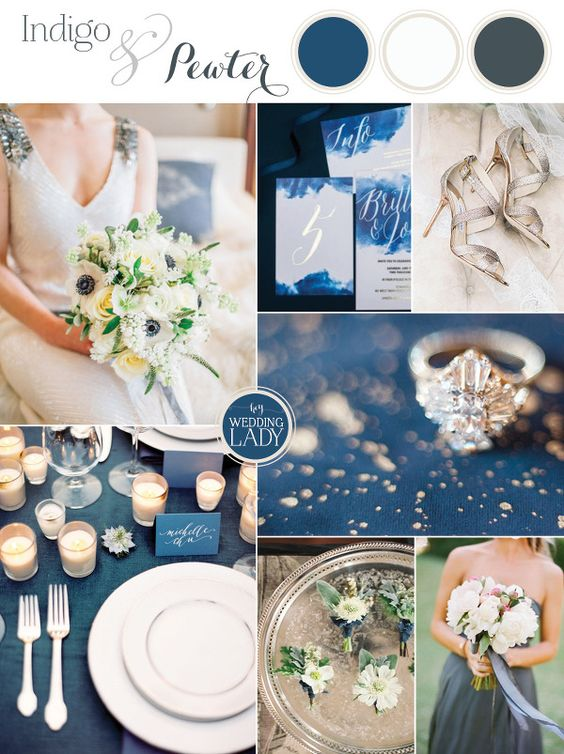 Indigo and Pewter - A Timeless Wedding Palette in Deep Blue and Antique Silver