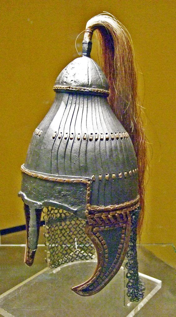 Lamellar helmet of the type Niederstotzingen, Grave 12 Niederstotzingen, District of Heidenheim, Baden-Württemberg, Germany. The lamellar helmet of Niederstotzingen is a type that derives from the Asian area, introduced to Europe by the Avars, among others. Comparable helmets have been found in Kerch, Castel Trosino, and Nocera Umbra as well as other sites