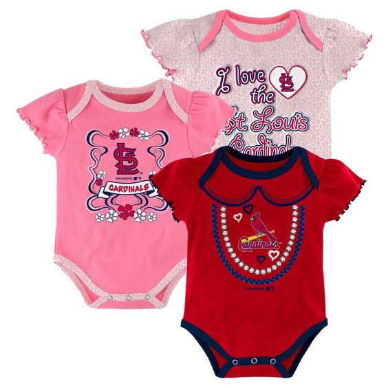 St. Louis Cardinals Girls 3pk Body Suit 18 M, Infant Girl's, Multicolored