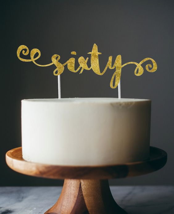 New to anaderoux on Etsy: 60th birthday cake topper - sixty cake topper (10.00 USD)