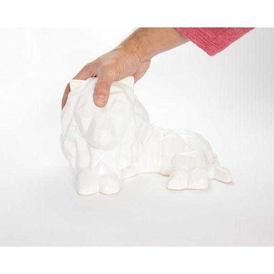escultura leon ceramica blanco avicario