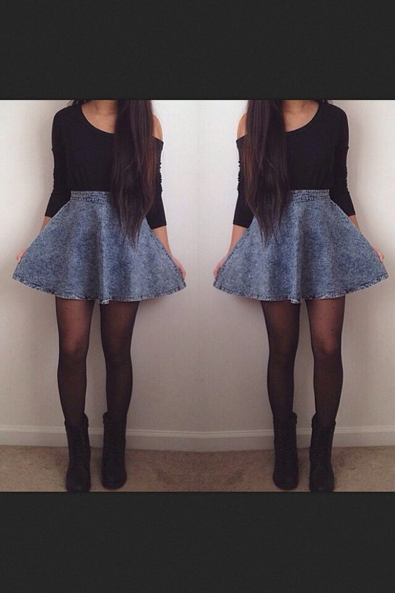 Acid Wash Skater Skirt. Black Tights. Long Sleeve Black Crop Top. | Fall/Winter Outfits ...