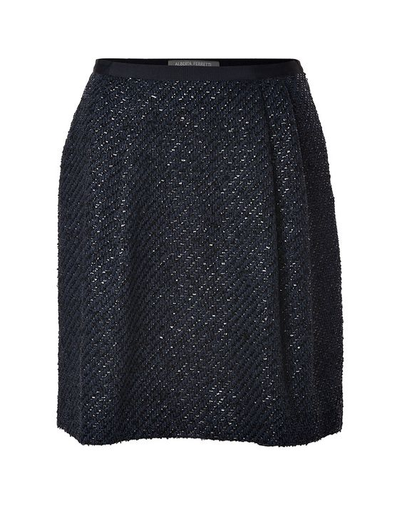 A shimmer of metallic luster dresses up the look of this chic puff skirt from Alberta Ferretti list icon .Black/ink woven wool-cotton blend with allover shimmer, pleated front and back detailing, smooth waistband, hidden side zip
