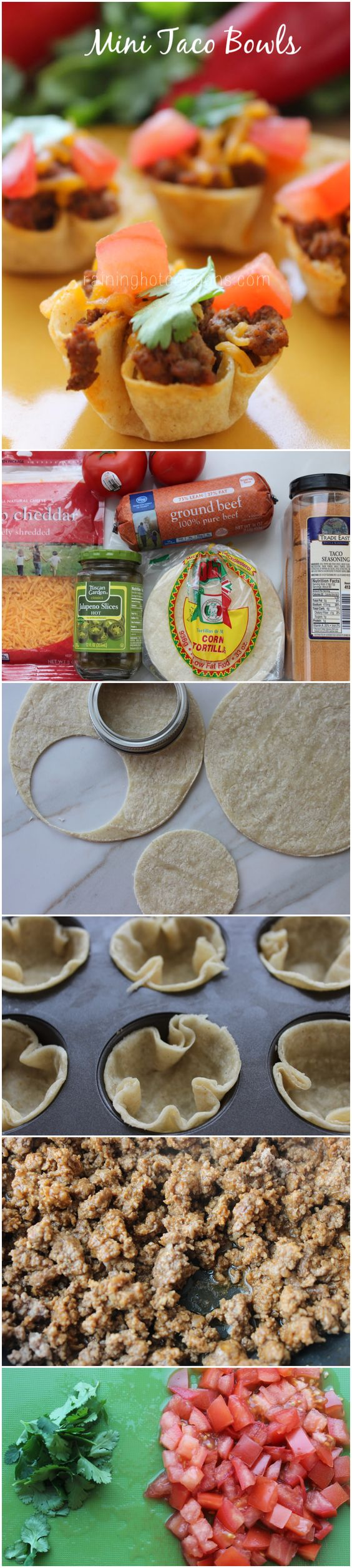 Mini Taco Bowls | I think it would be easier, and less wasteful, to substitute the soft taco shells with wan ton wraps.