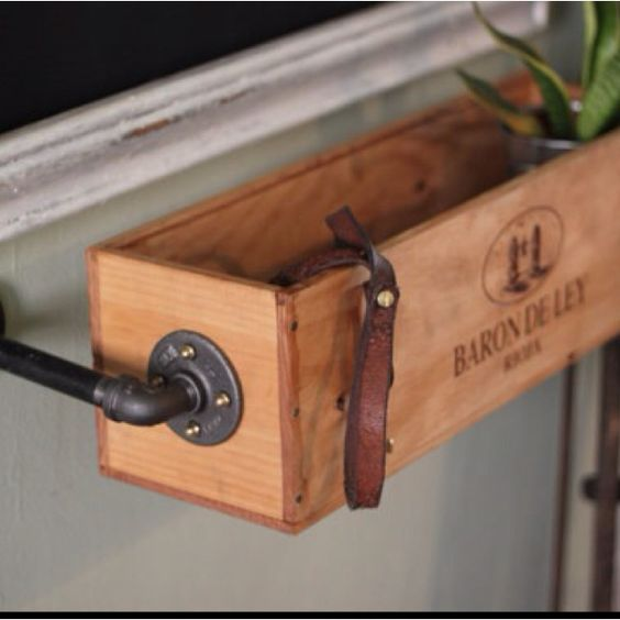 Hanging Wine Box Re Used As A Window Sill Herb Garden 5