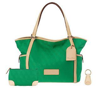 Fashionable and functional this #Emerald @Dooney & Bourke  Signature Fabric Tote w/ Accessories is a must have for 2013!