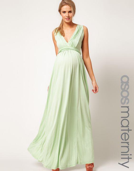 Cap sleeve maternity maxi dress