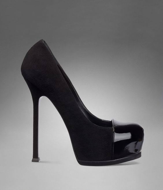 YSL TRIB TOO HIGH HEEL PUMP IN BLACK SUEDE AND PATENT LEATHER: