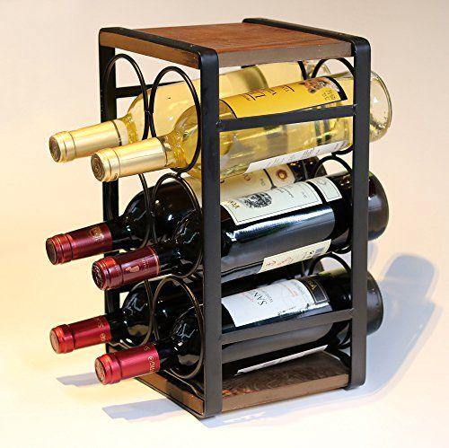 Soduku Metal Wood Countertop Wine Rack 6 Bottles No Need