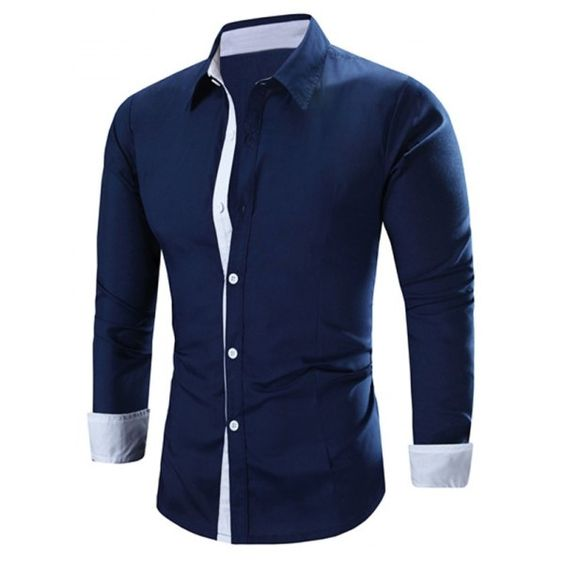 14.66$  Buy now - http://dili9.justgood.pw/go.php?t=187578821 - Men's Solid Color Turn-Down Collar Long Sleeve Shirt 14.66$