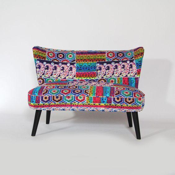 fauteuil 2 places ethnique en bois et tissu coton. Black Bedroom Furniture Sets. Home Design Ideas