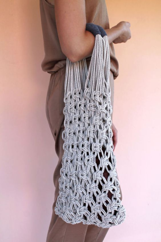 Macrame Tote Bag Shopper Bag Natural Linen and by KNOTinterior