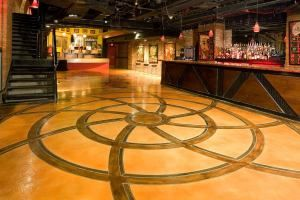 More than 5-000 square feet of decorative concrete floor coatings grace this theater.