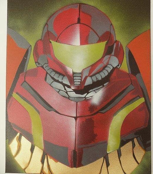 Samus Spray Paint Art on Canvas, Metroid Video Game Graffiti | Art ...