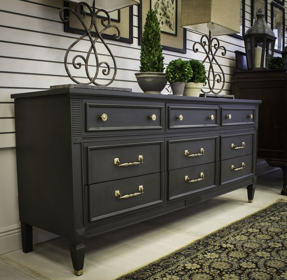 Gorgeous dresser with graphite chalk paint project by for Dark grey furniture paint
