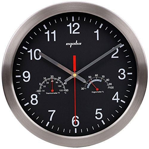12 Quartz Round Silent Metal Frame Digital Decorative Wall Clock No Ticking W Temperature Humidi Outdoor Wall Clocks Wall Clock Wall Clock With Temperature