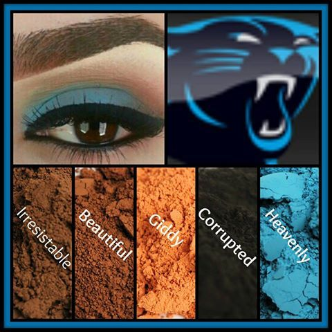 Carolina Panthers look created using mineral pigments in irresistible, beautiful, giddy, corrupted, and heavenly! Top this look off with 3+D Fiber Lash Mascara!!!  https://www.youniqueproducts.com/LoveMeSomeMakeup