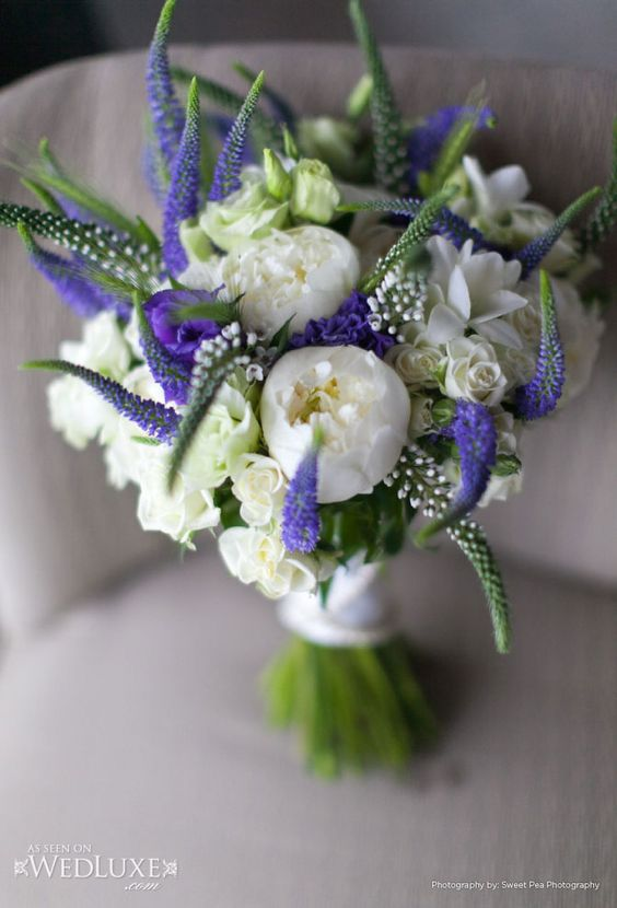 Bridesmaid idea - white peonies and sweetheart roses then punch up with shades of purple, pink and yellow