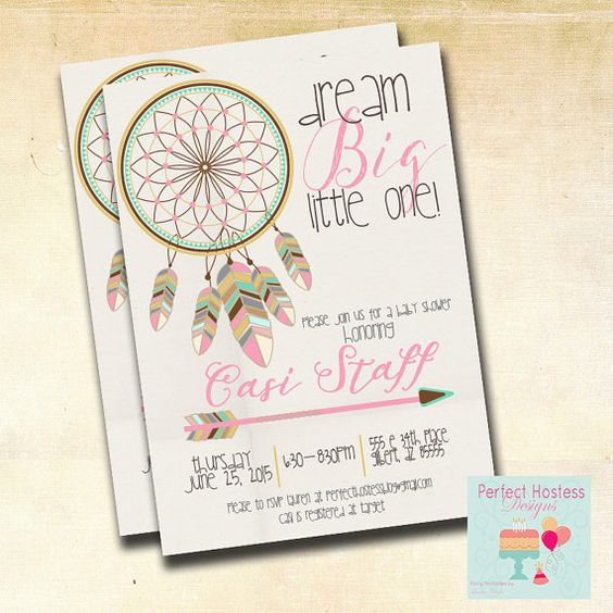 Girl Boho Dream Catcher Baby Shower Invitation