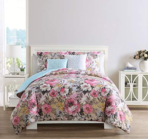 Vcny Home Lucia Floral Reversible 5 Piece Bedding Comforter Set