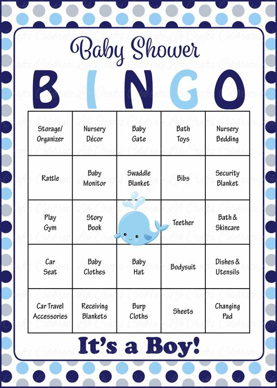 Whale Baby Bingo Cards Printable Download Prefilled Baby Shower Game For Boy Navy Gray Polka Dots B15007 Gray Elephant Baby Shower Baby Shower Gift Bingo Baby Shower Bingo