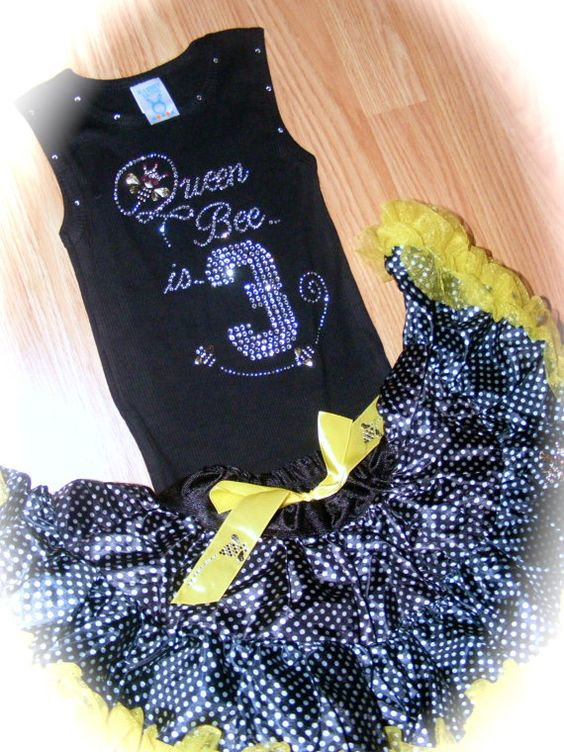 This queen bee is three rhinestone shirt is perfect for any little princess who loves bling! This is the perfect birthday tank top or t-shirt