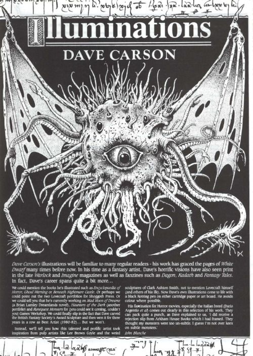 "fuckyeahbritisholdschoolgaming: "" Illuminations - Dave Carson. From White Dwarf 92, August 1987. "" Cthulhonic beholderish demon thing"