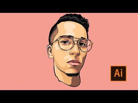 How To Cartoon Yourself Step By Step Ricegum Tutorial Adobe Illustrator Illustrator Portrait Tutorial Adobe Illustrator Portrait Digital Art Illustration