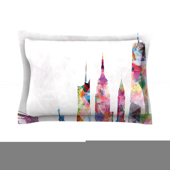 "Mareike Boehmer ""New York"" Rainbow City Featherweight Sham Great looking forward sham very abstract comments:! Gemjunkiejewels"