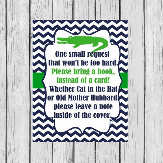 Bring a Book Instead of a Card - Navy and Blue Alligator Baby Shower - Printable on Etsy, $4.00