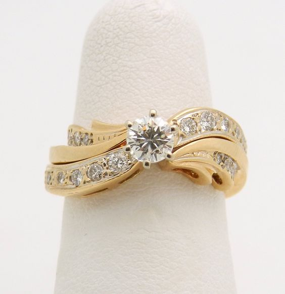Diamond Engagement Ring Wedding Guard Band Set 14K Yellow Gold Size 5.25