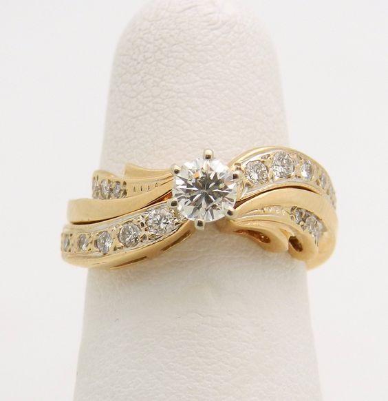 Diamond Engagement Ring Wedding Guard Band Set 14K Yellow Gold Size 5.25
