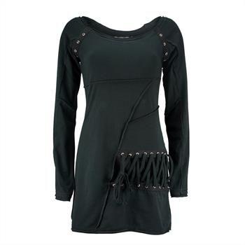 Abenteuerliches Top von Poizen Industries mit schicken Overlock-Nähten und Nieten an der Schulter. Durch den verlängerten Schnitt ist es möglich, das Top als Mini-Kleid zu tragen.