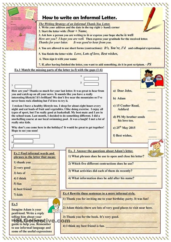 writing an informal letter This letter writing worksheet directs the students to write an informal letter this letter writing worksheet includes a greeting, salutation, body and ending.